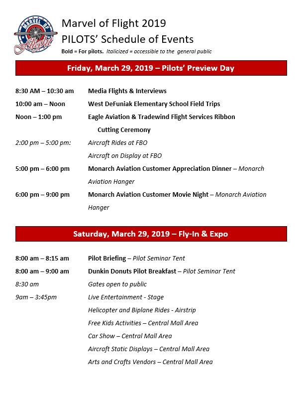 Pilots Preview Schedule 2019