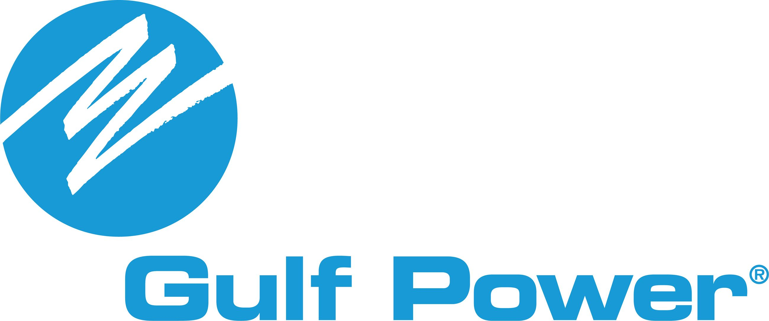 A logo with the words Gulf Power