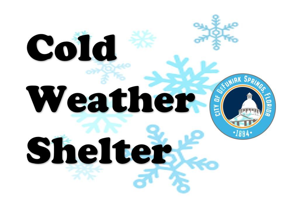 Words spelling Cold Weather Shelter with transparent snowflakes in background