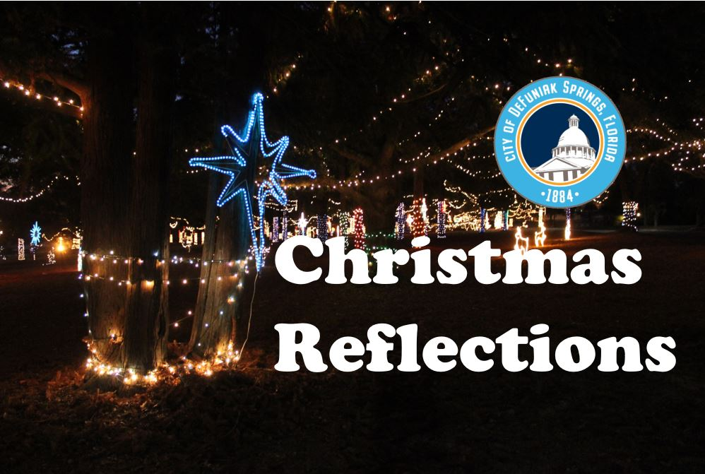 "Photo of trees decorated with millions of lights with words ""Christmas Reflections"""