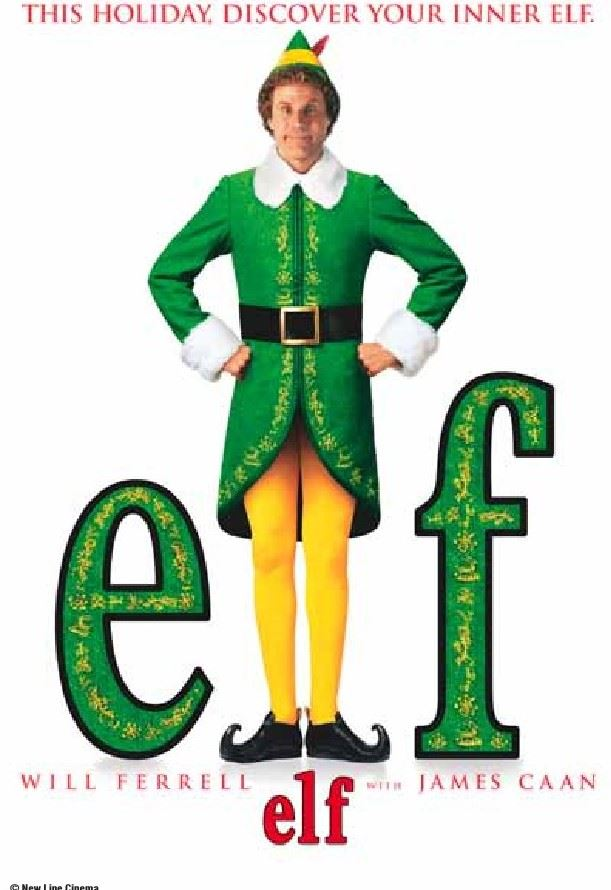 "Pic of Elf in green suit and yellow pants with word ""Elf"""