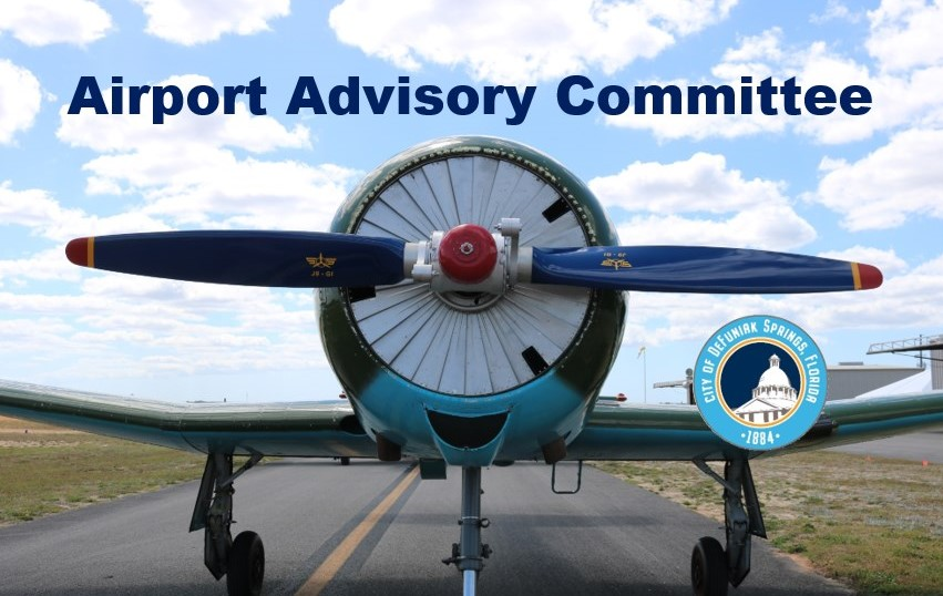 Front of plane on runway with words above saying Airport Advisory Committee Graphic