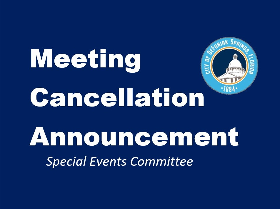 Special Events Committee Cancellation Notice with City Logo