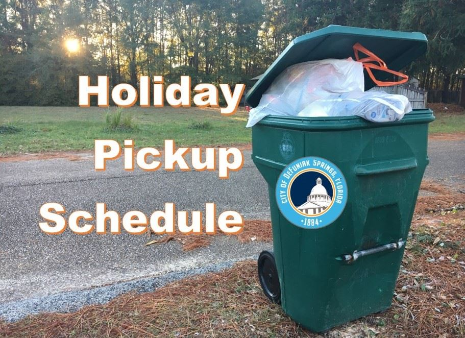 "Trash container filled with trash with words ""Holiday Pickup Schedule"" above image"