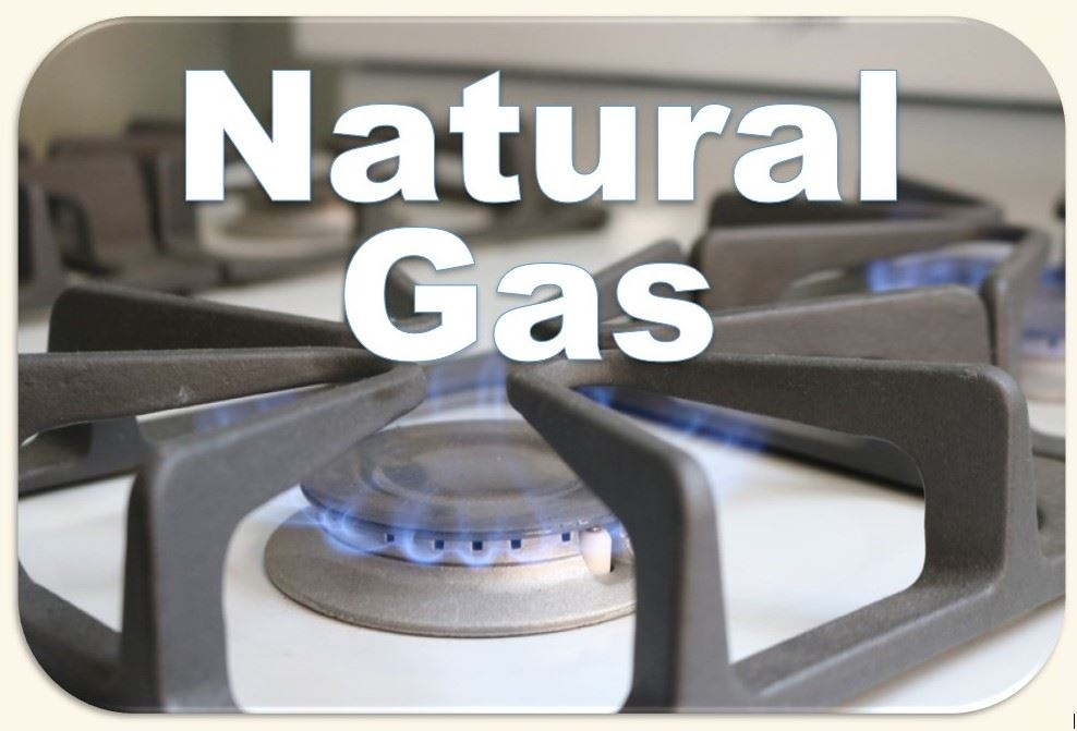 Eye of natural gas stove turned on with words Natural Gas written over image