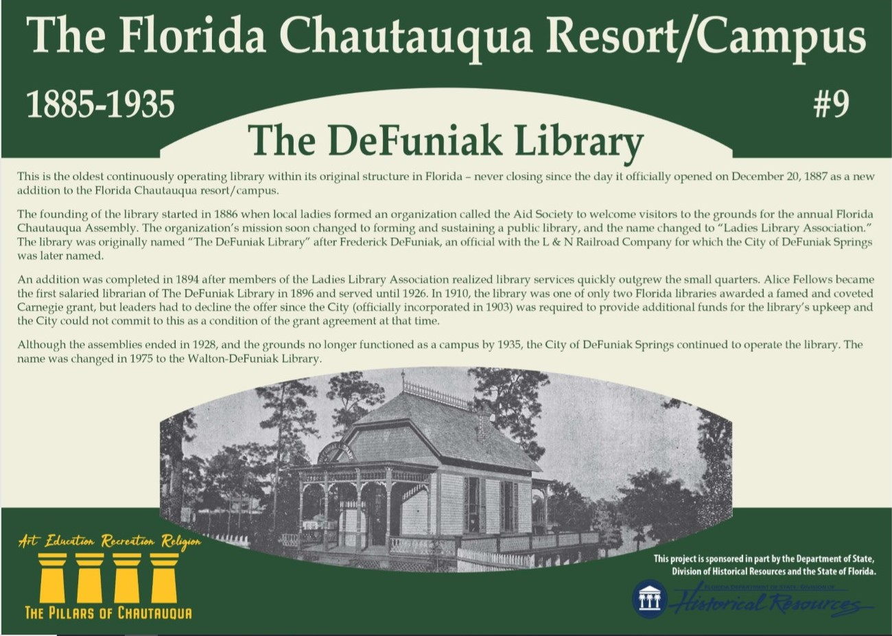 Sign with information about the DeFuniak Library