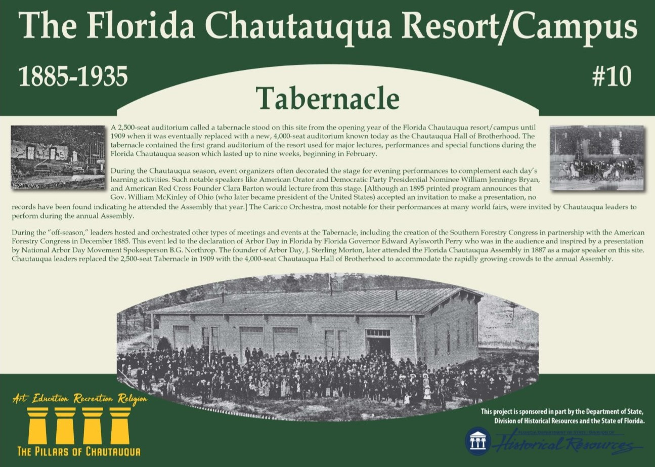 Sign with information about the history of a tabernacle in DeFuniak Springs, FL