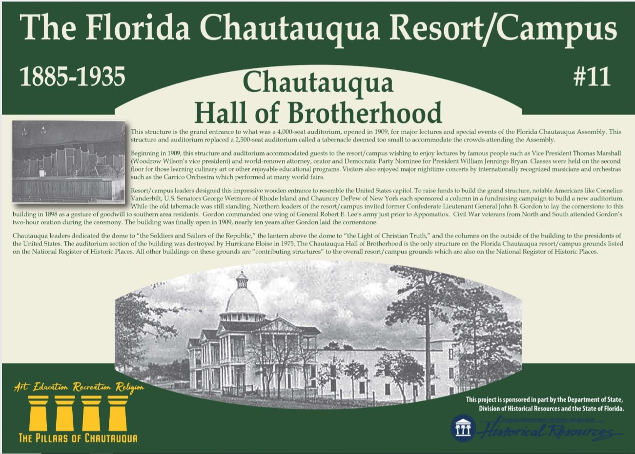 Sign with information about the history of the Chautauqua Hall of Brotherhood
