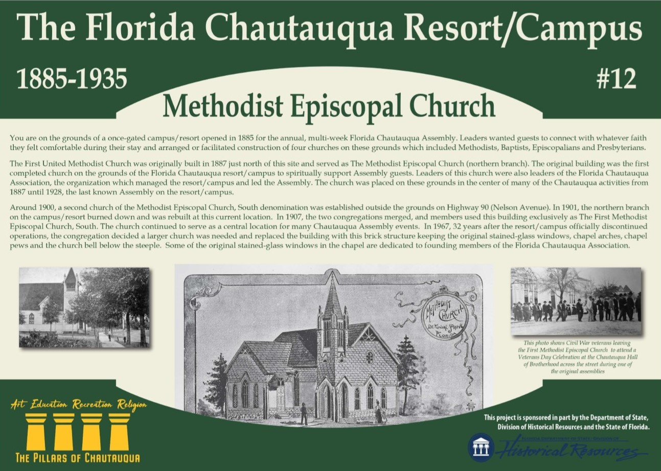 Sign with information about the Methodist Episcopal Church in DeFuniak Springs, FL