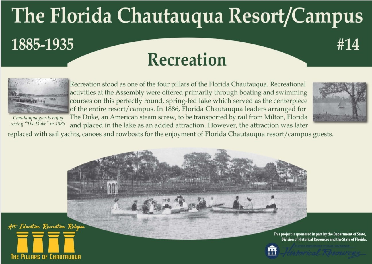 Sign with information about recreation on Lake DeFuniak between 1885 and 1927
