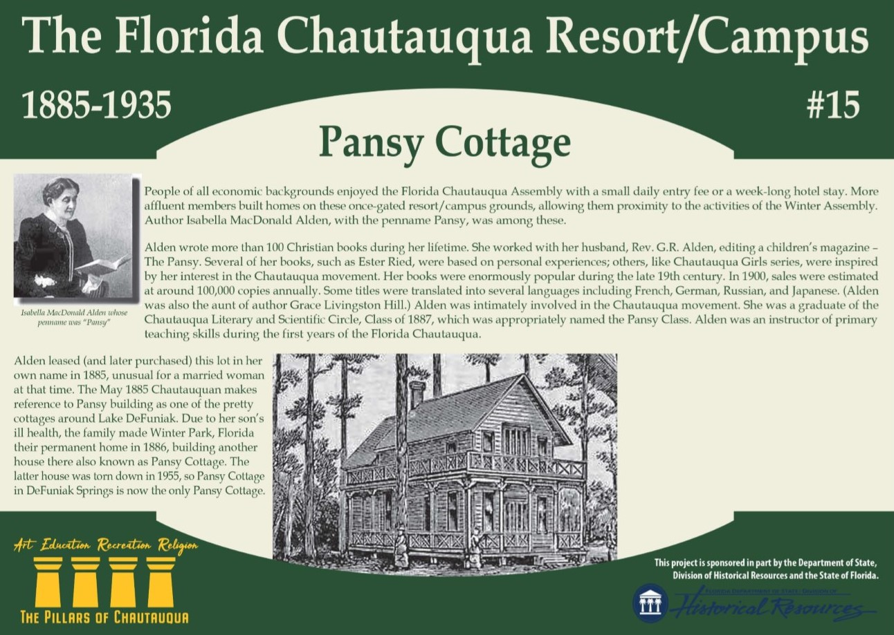 Sign with information about a cottage in DeFuniak Springs called Pansy Cottage