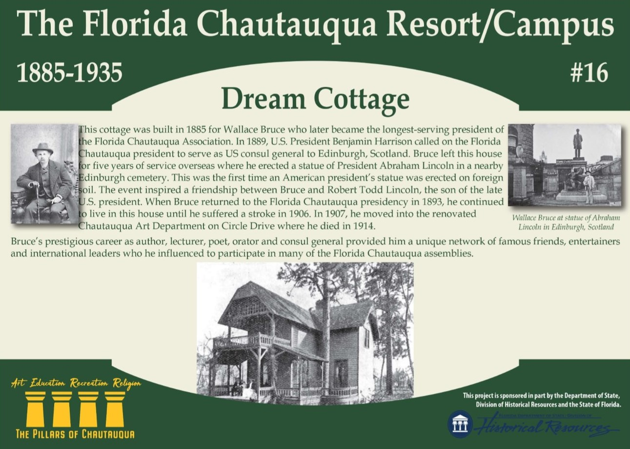 Sign about a cottage in DeFuniak Springs called the Dream Cottage