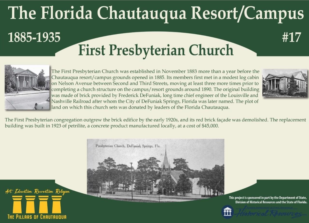 Sign about the history of First Presbyterian Church in DeFuniak Springs, Florida