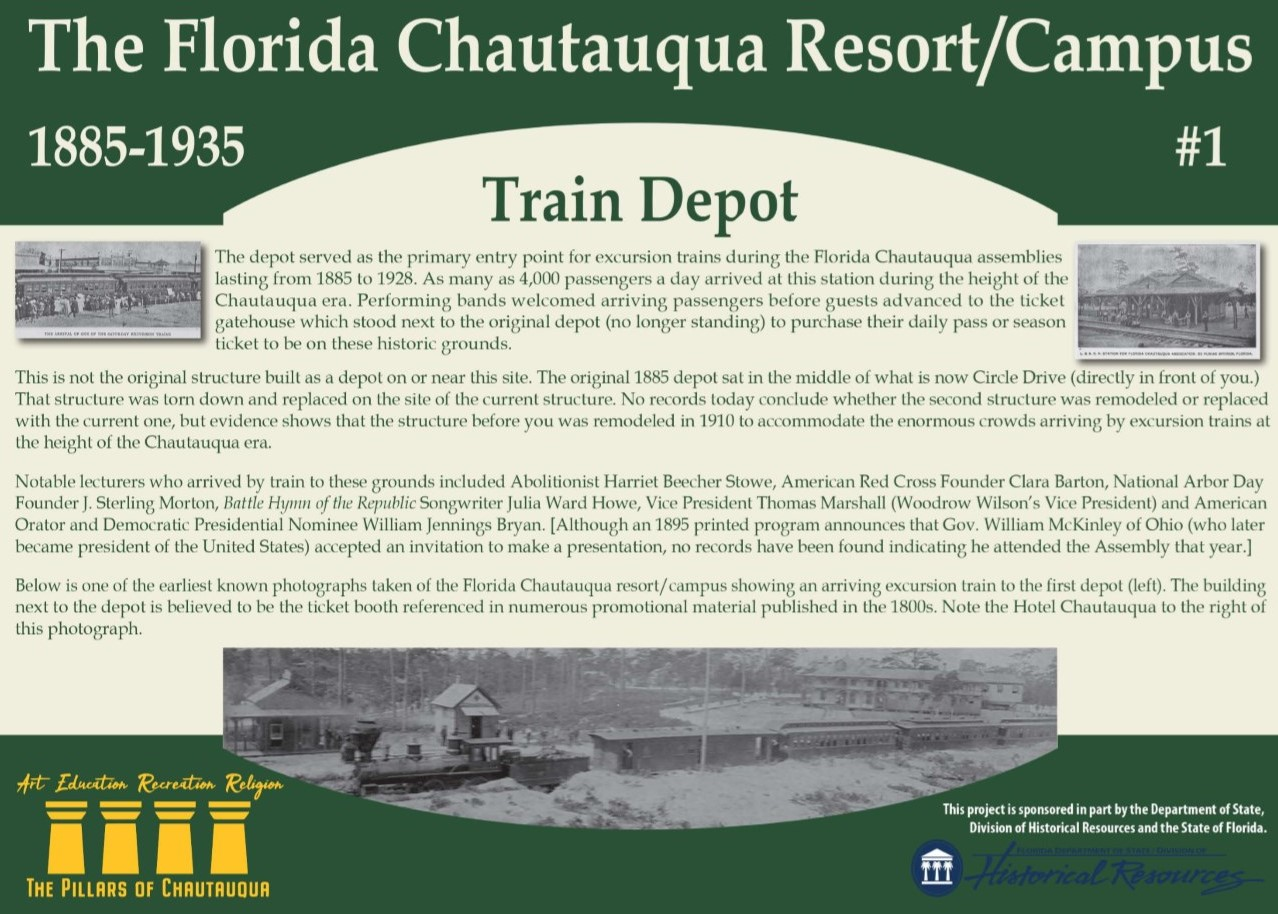 Sign about the history of the train depot in DeFuniak Springs, Florida