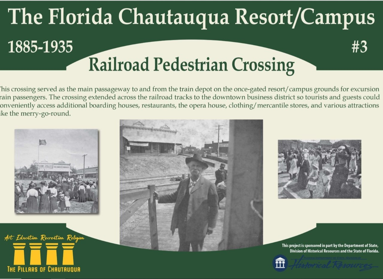 Sign about the history of the railroad crossing in DeFuniak Springs, Florida