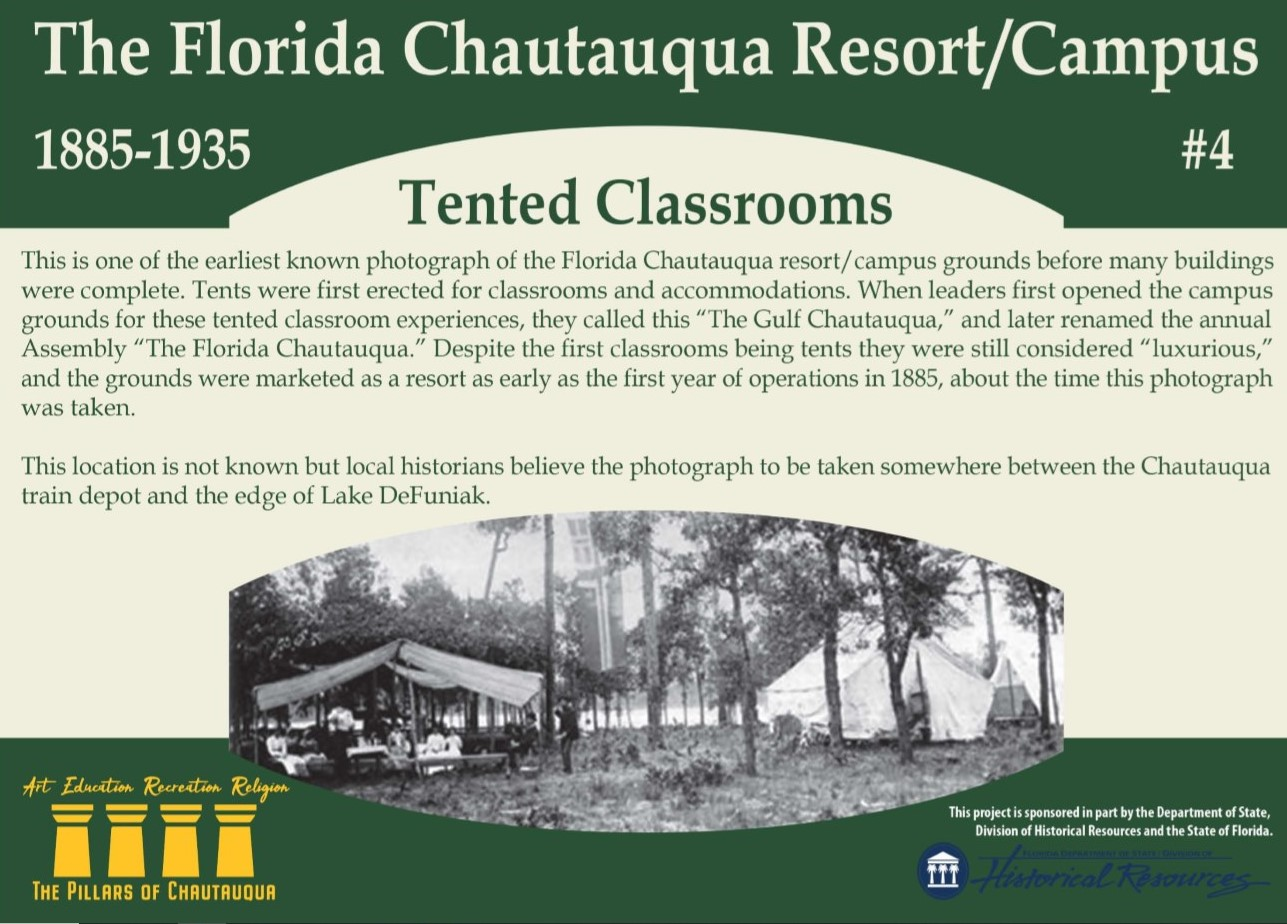 Sign about the history of tented classrooms in DeFuniak Springs, Florida
