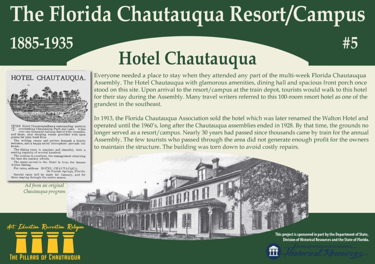 Sign about the history of Hotel Chautauqua in DeFuniak Springs, Florida
