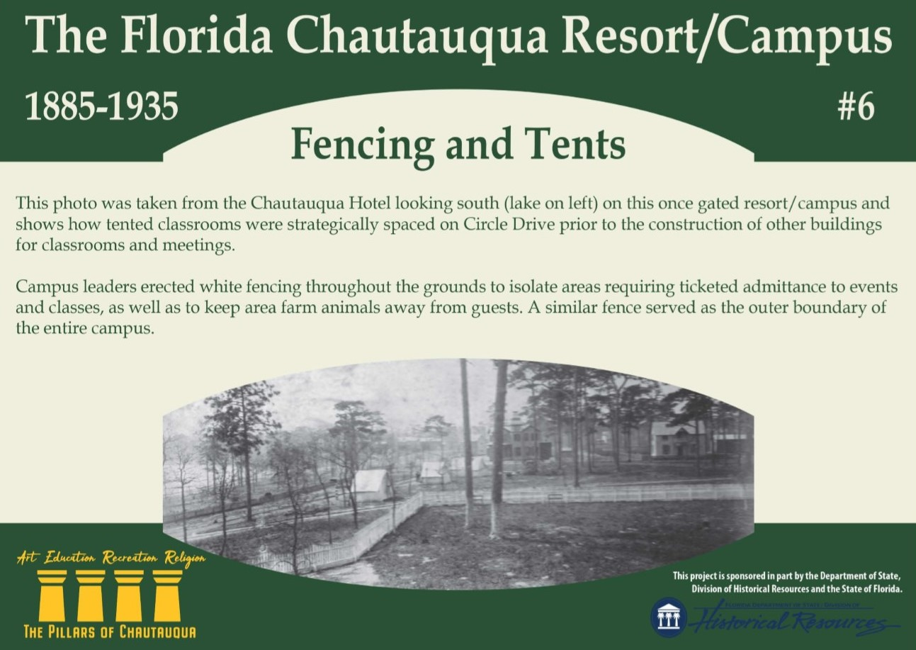 Sign about the history of fences in the historic district of DeFuniak Springs, Florida
