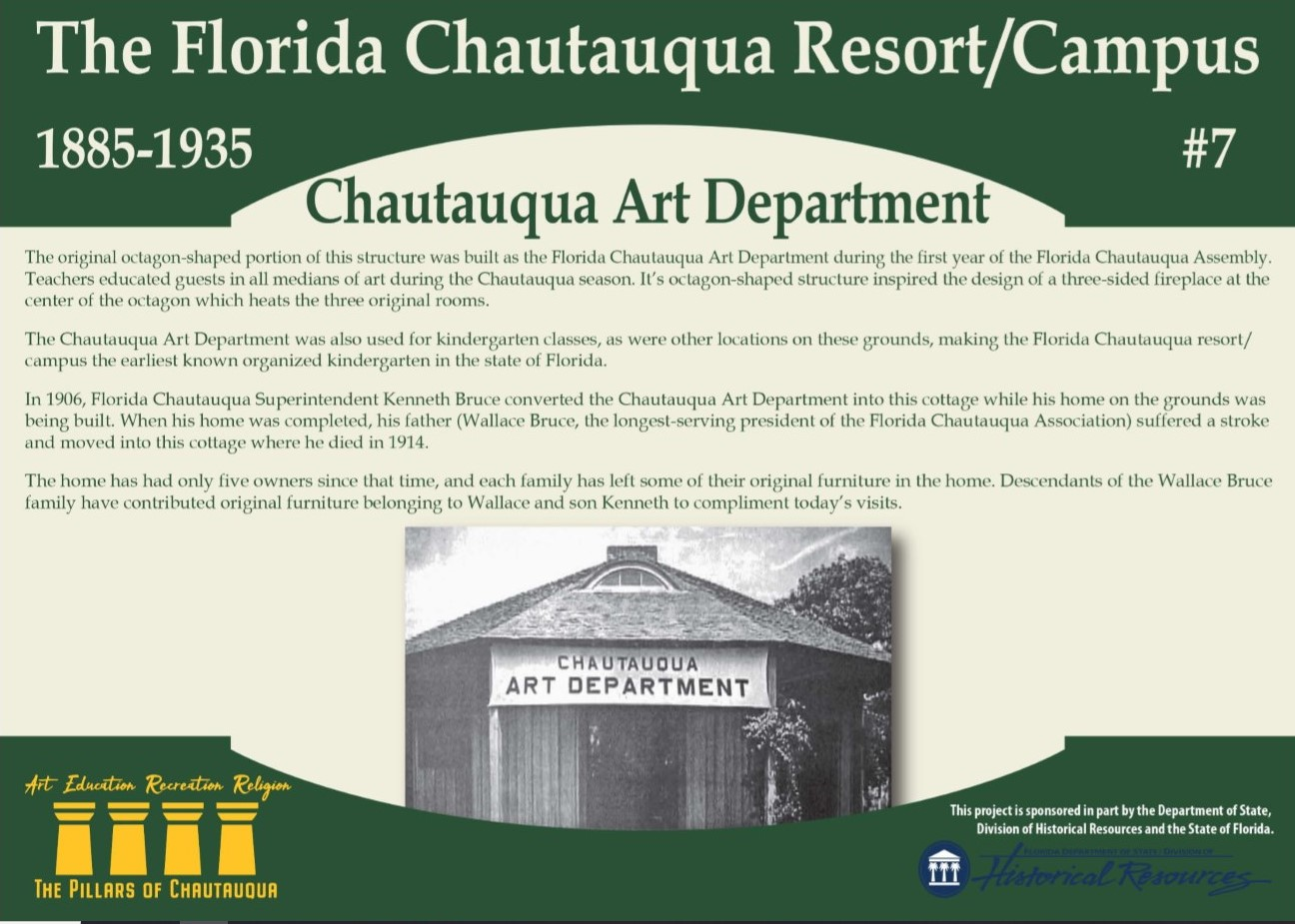 Sign about the history of the Chautauqua Art Department in DeFuniak Springs, Florida