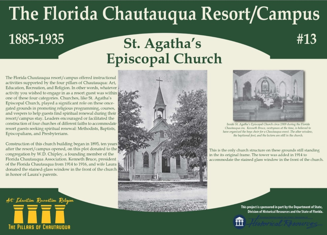 Sign with history of St. Agatha's Episcopal Church in DeFuniak Springs, Florida