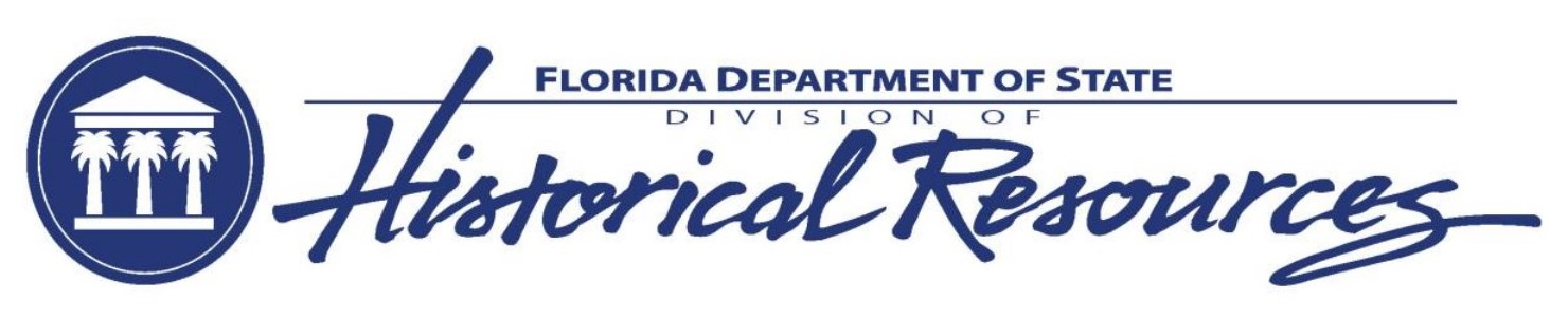 Logo which says Florida Division of Historical Resources with a palm tree graphic