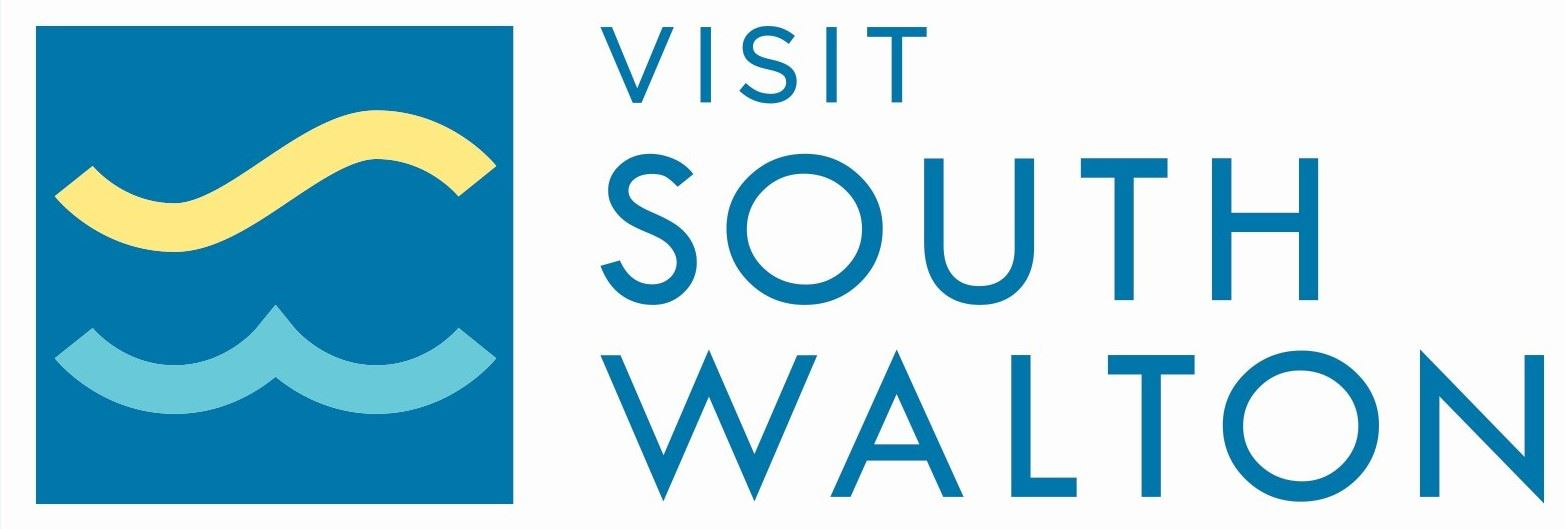 Visit South Walton logo with words Visit South Walton with graphic of waves
