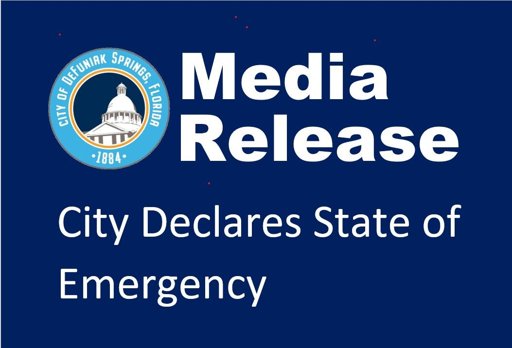 Graphic with city logo and words Media Release City Declares State of Emergency