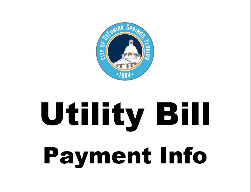 City of DeFuniak Springs logo with words below Utility Bill Payment Info