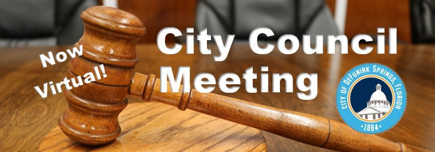 Picture of a gavel with words Now Virtual City Council
