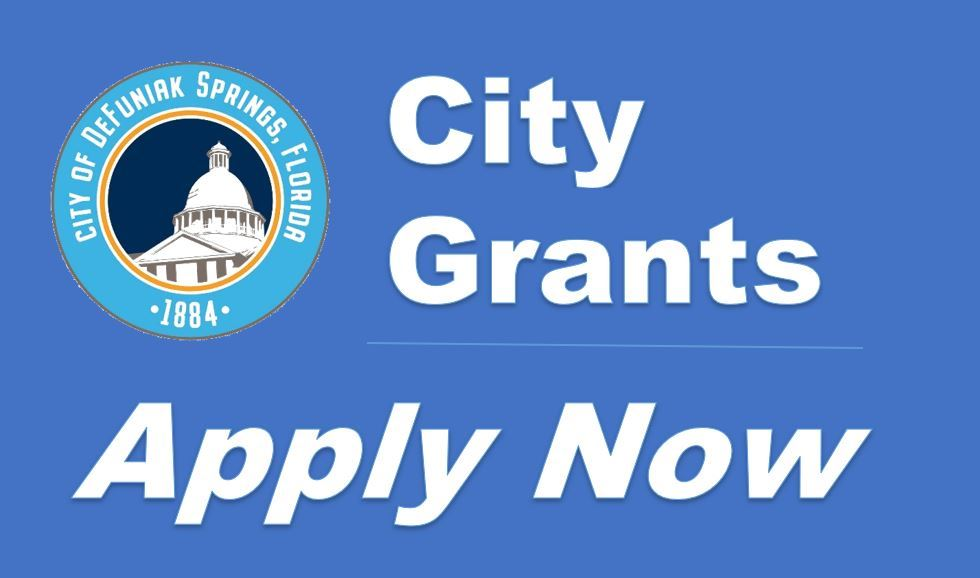 City of DeFuniak Springs logo with wording City Grants Apply Now