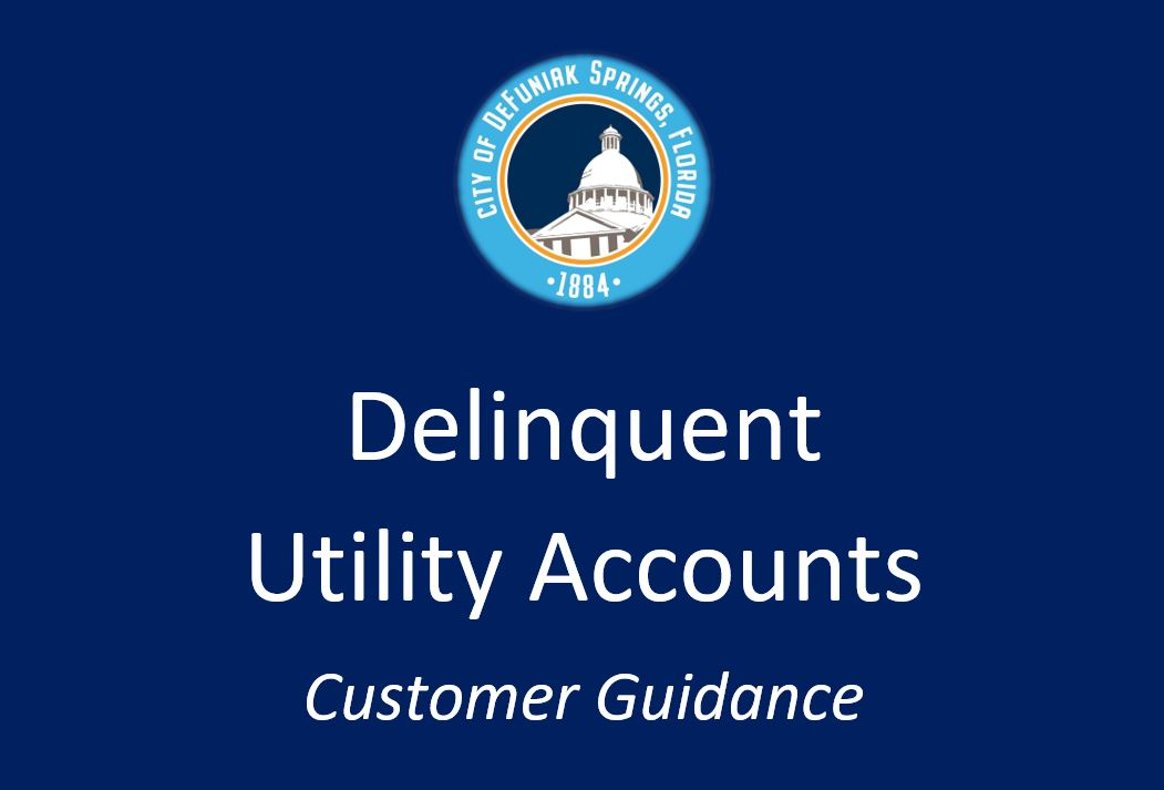 City logo with words Delinquent Utility Accounts Customer Guidance