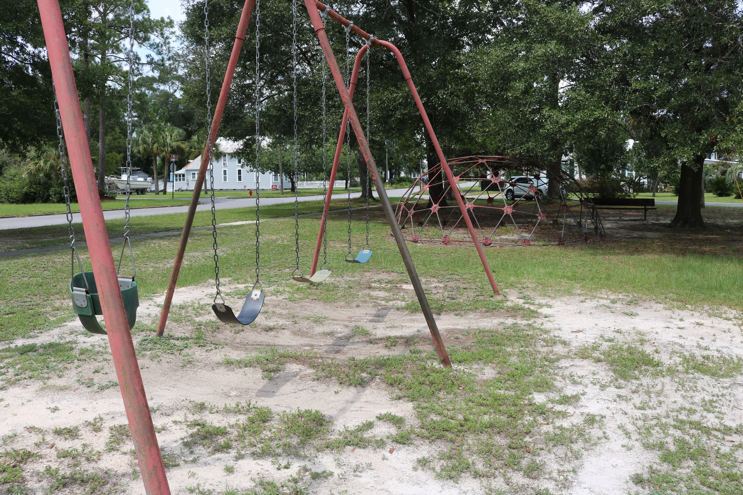 Swing set in a park