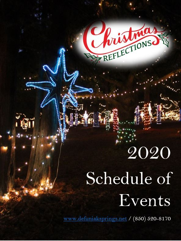 Cover of a Printed Program which says Christmas Reflections 2020 Schedule of Events