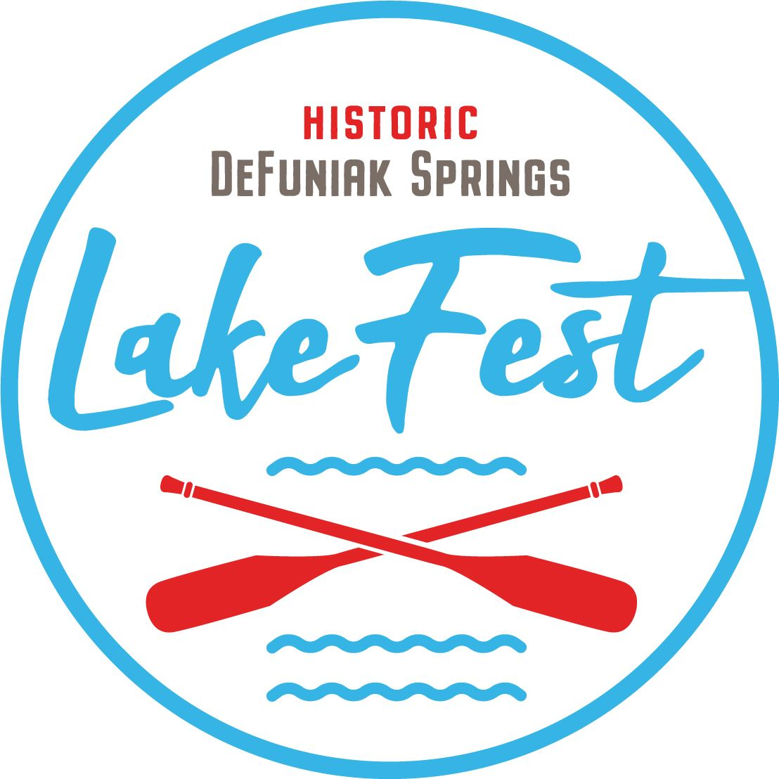 Circular logo with words Historic DeFuniak Springs LakeFest with two canoe oars crisscrossed
