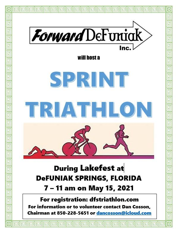 Flyer with dates and time of LakeFest Triathlon which is a link to a document