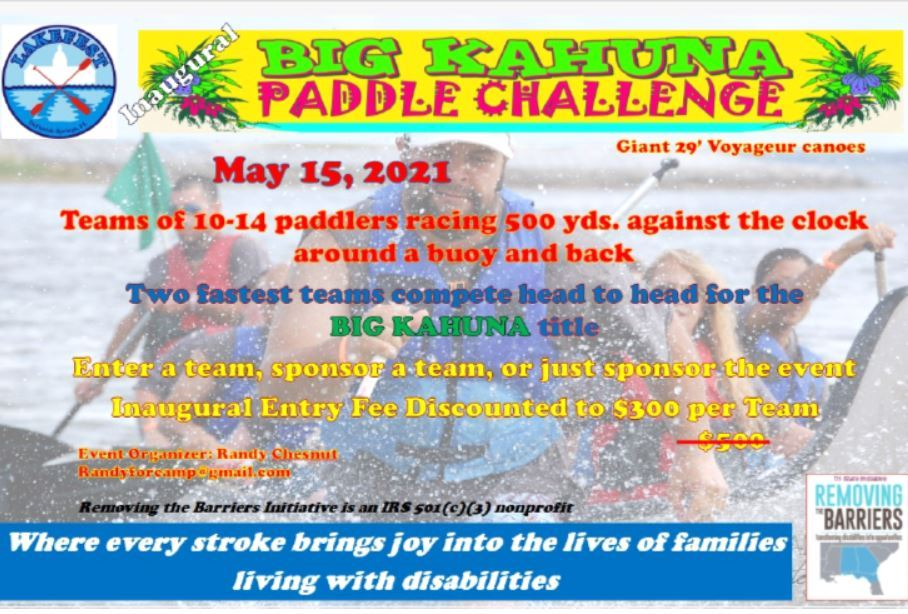 Pic of a flyer promoting Big Kahuna Paddle Challenge for LakeFest 2021