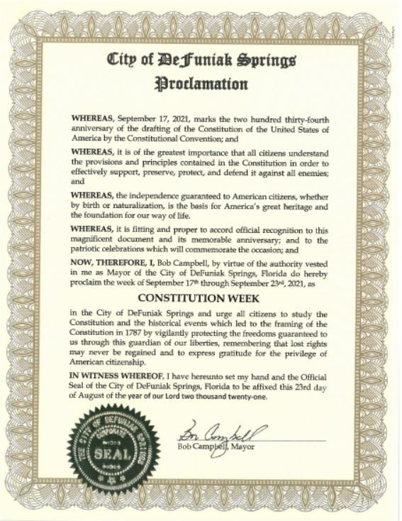 A proclamation signed by Mayor Bob Campbell Observing Constitution Week 2021
